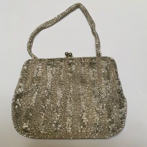 Vintage Richere Beaded Silver Evening Purse